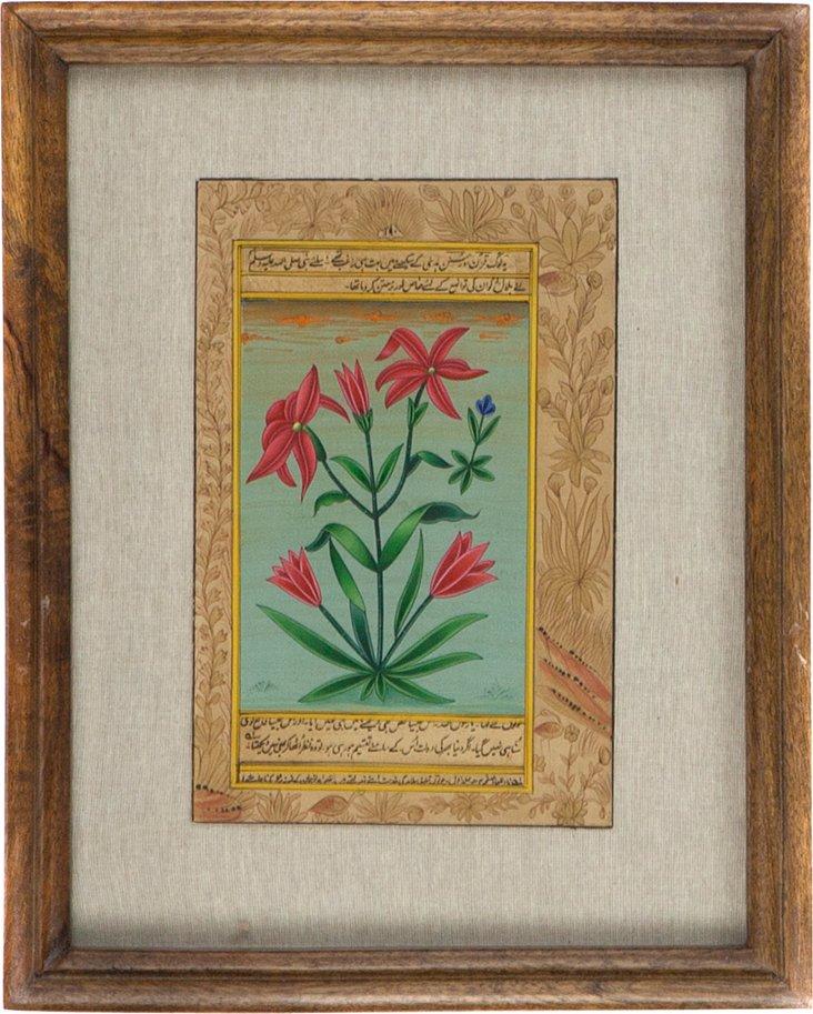 Red Flowers on      Manuscript
