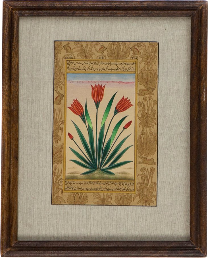 Ruby Red Flowers on Manuscript