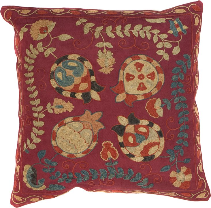 Suzani Pillow, Yellow Pomegranates