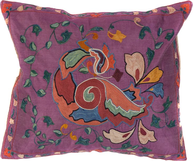 Suzani Pillow, Sleeping Phoenix