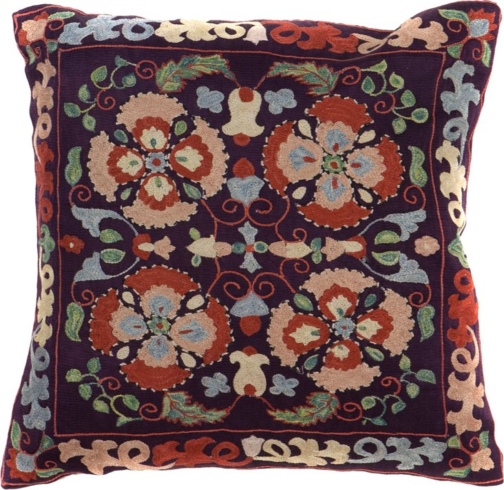Suzani Pillow, Flowers on Black