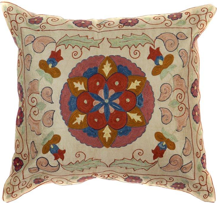 Suzani Pillow, Circular Petals