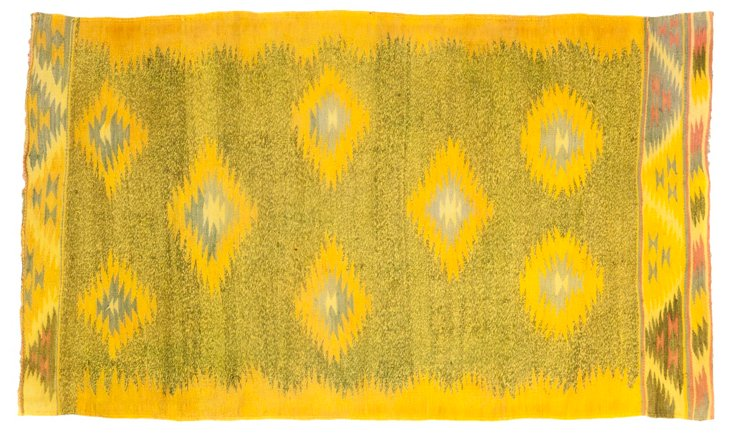 "Indian Dhurrie, Yellow, 5'8"" x 3'3"""