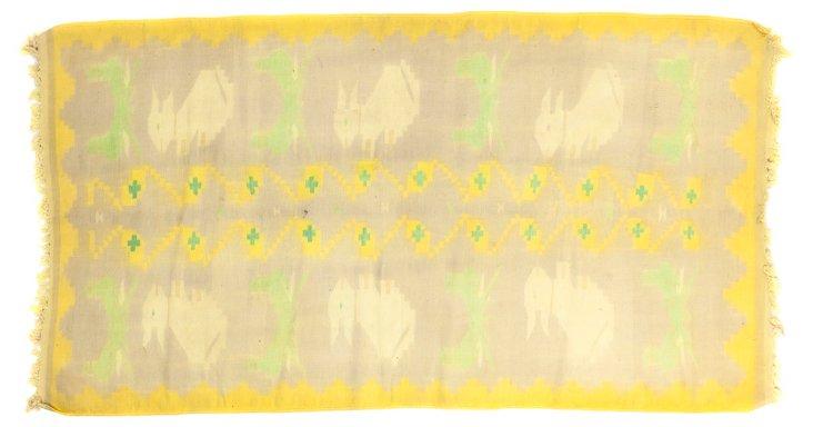 "Yellow Rabbit Dhurrie, 6'3"" x 3'3"""