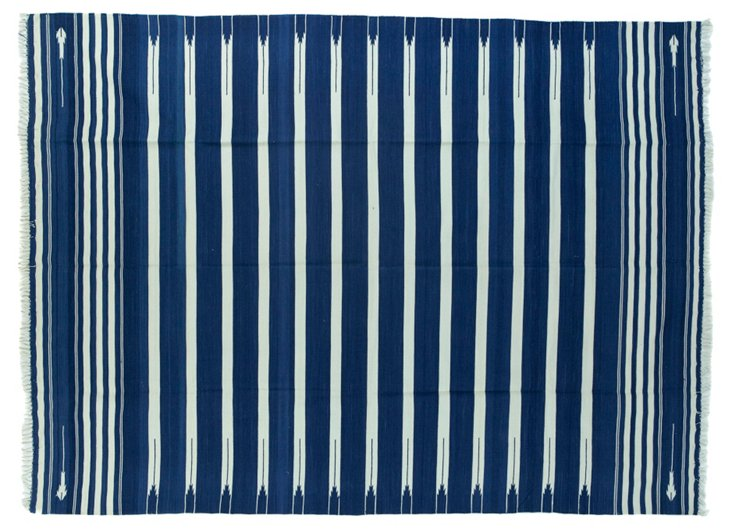 Blue  & White  Striped Dhurrie, 5' x 7'