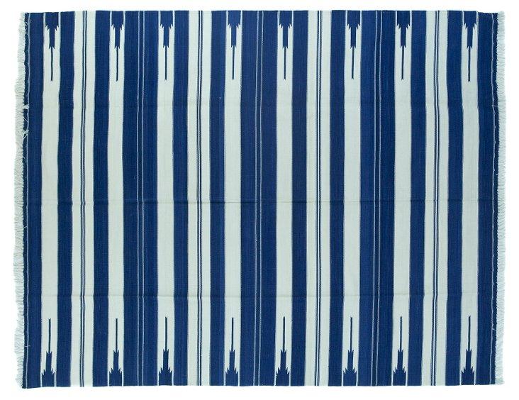 Blue &   White Striped Dhurrie, 7' x 5'