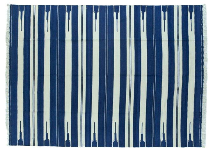 Blue    & White  Dhurrie, 5' x 7'