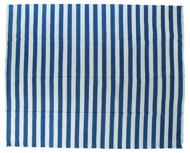 Blue & White Striped Dhurrie, 8' x 10'