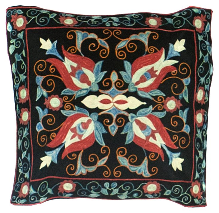 Black Floral Suzani Pillow