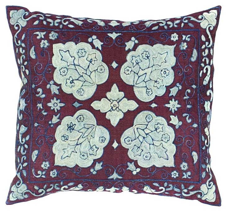 Maroon Suzani Pillow w/ White Flowers