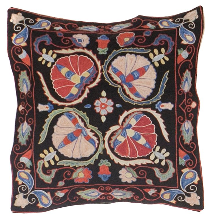 Black Suzani Pillow w/ Flower Petals