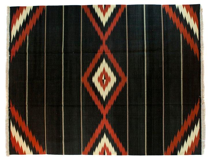 Native American Dhurrie, Black, 8' x 10'