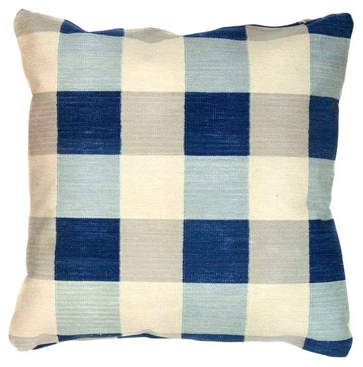 "22""Sq       Blue & White Dhurrie Pillow"