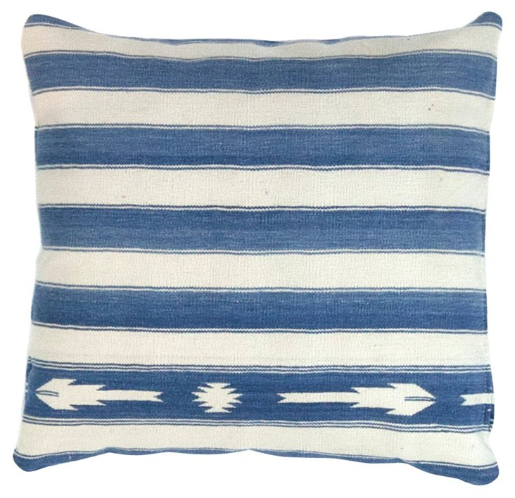 White & Blue Dhurrie        Pillow