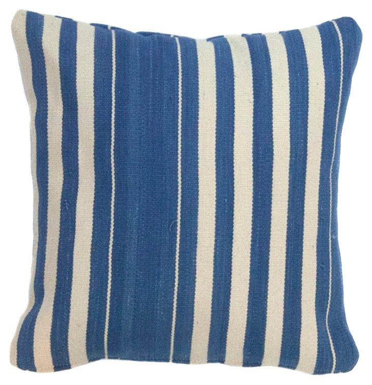 White & Blue    Dhurrie   Pillow