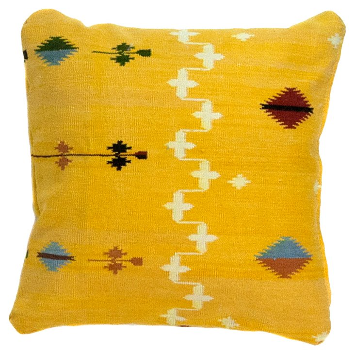 Yellow Tribal Dhurrie     Pillow