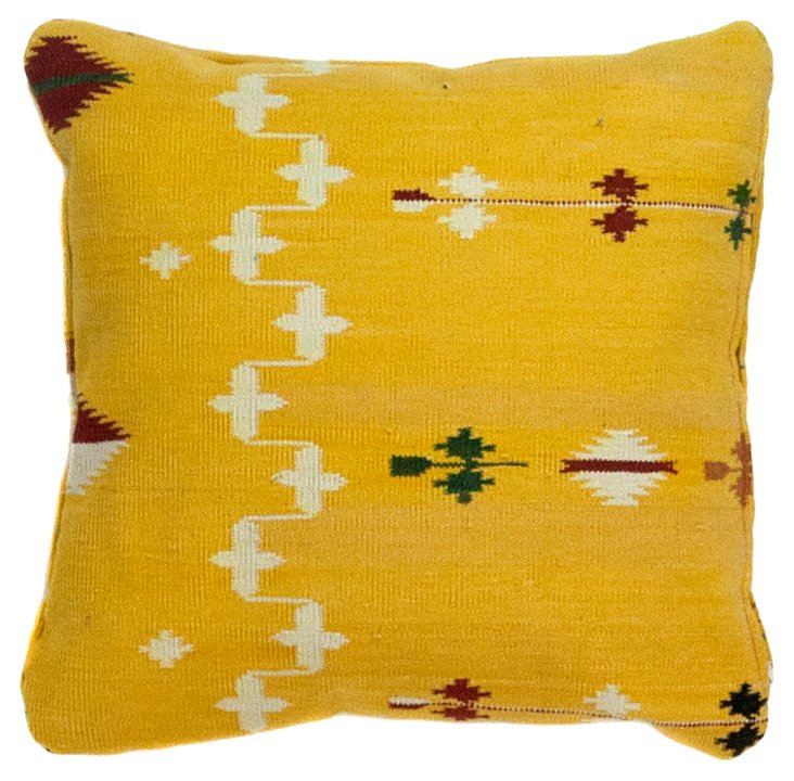 "15""Sq   Yellow Tribal Dhurrie Pillow"
