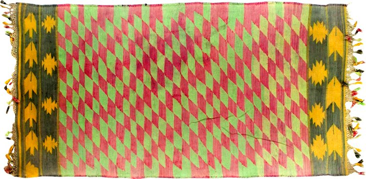 """Dhurrie, Green & Red, 6'3"""" x 3'3"""""""