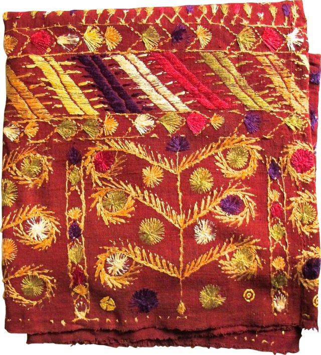 Indian Phulkari Weaving, Red