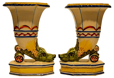 Early-19th-C. French Faience Vases, S/2
