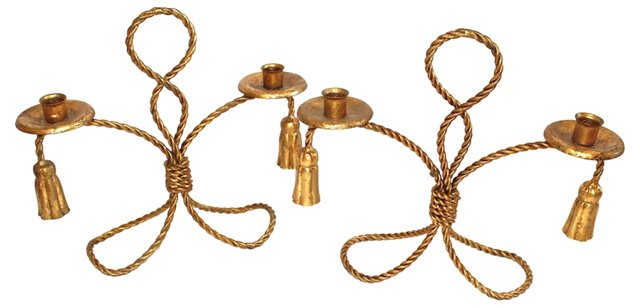Gilded Iron Rope Candlesticks, Pair