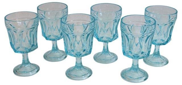 Ice Blue Glasses, Set of 6