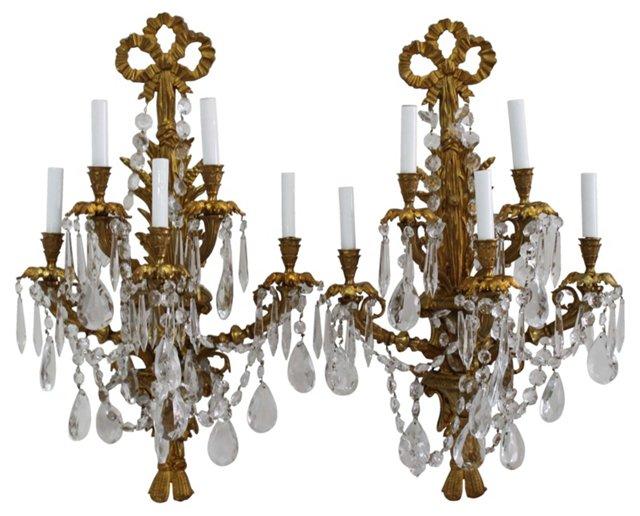 Brass Crystal Candelabra Sconces, Pair