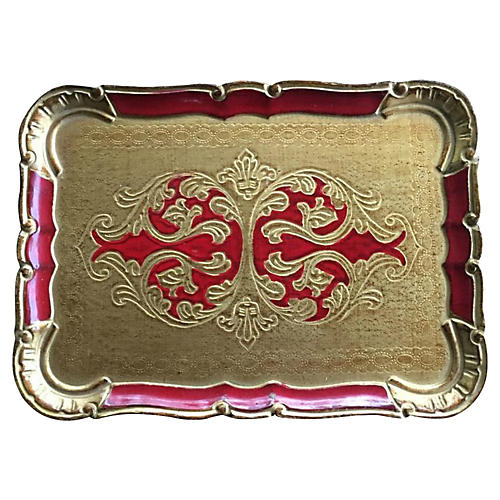 Red & Gilt Florentine Tray