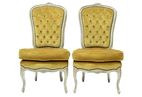 Louis XV-Style Slipper Chairs, S/2