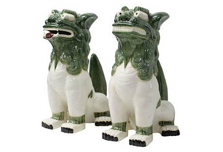 Porcelain Foo Dogs, Pair