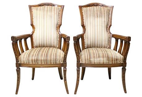 Mahogany Fireside Chairs, Pair