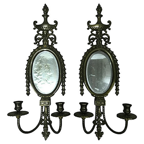 Brass Mirrored Sconces, Pair