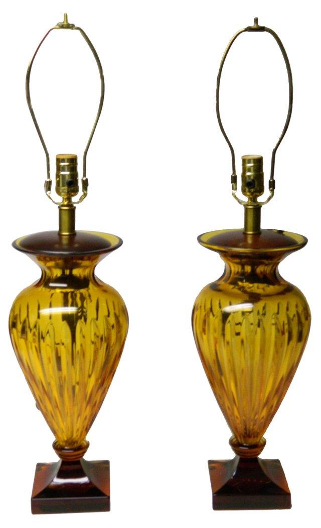 Amber Glass Lamps, Pair