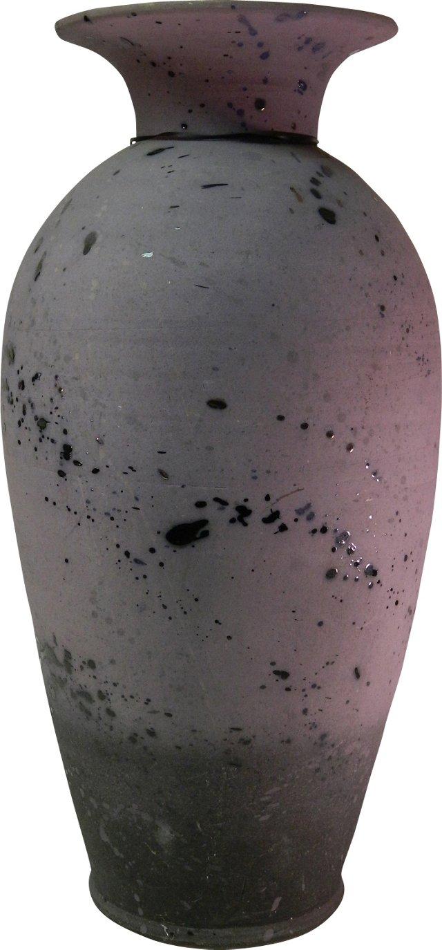 Oversized Lavender Vase, Signed