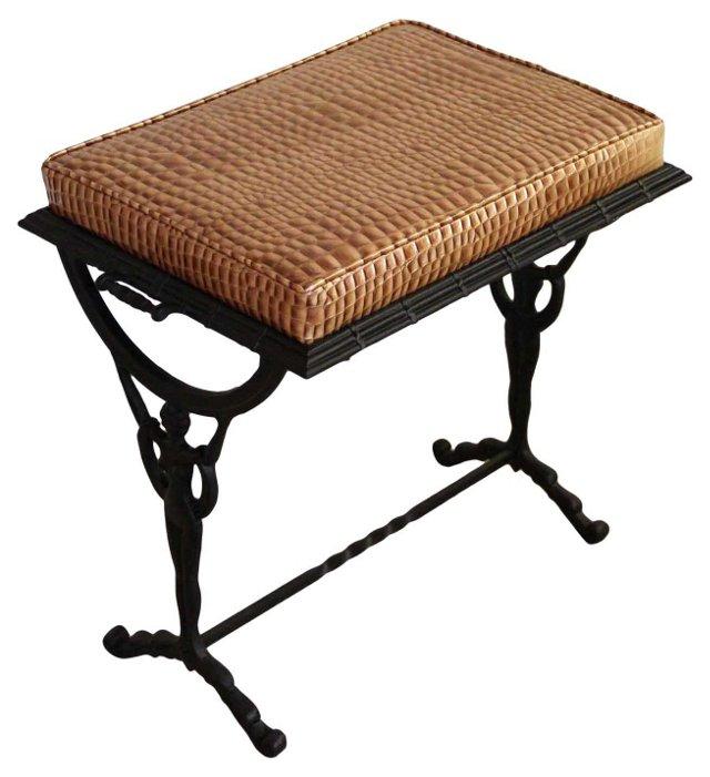 Iron Art Deco-Style Bench