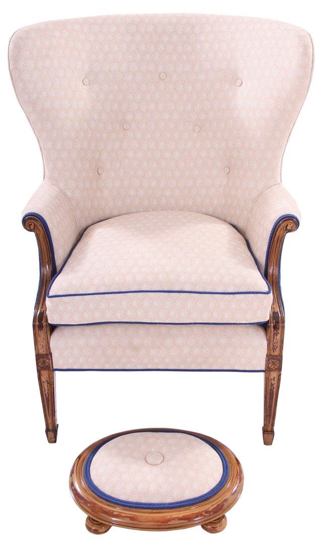 19th-C. Wingback & Footstool(Y)