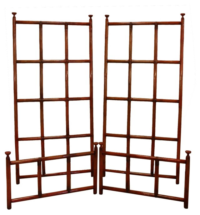 Midcentury Bamboo Twin Bed Frames, Pair
