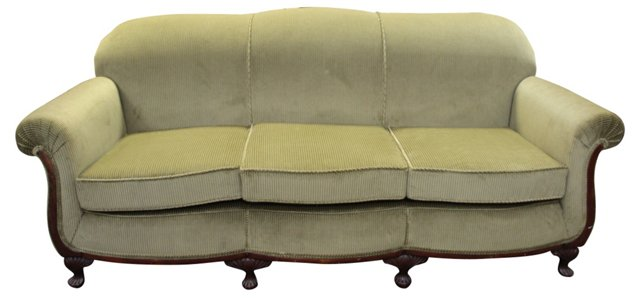 Queen Anne-Style  Upholstered Sofa