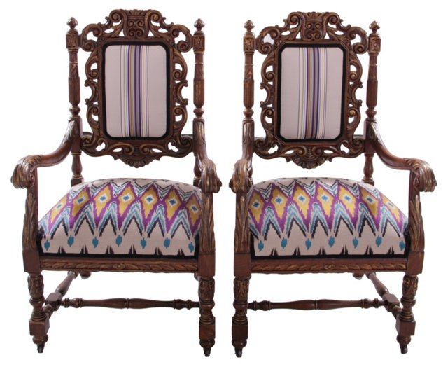 19th-C. Baroque-Style Armchairs, Pair