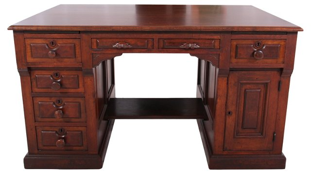 19th-C.  Carved Partners Desk