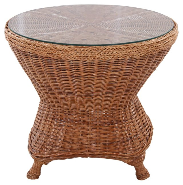 Glass-Top  Wicker Table(h)