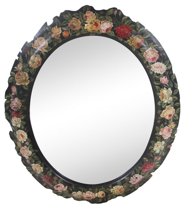 Antique Hand-Painted   Mirror