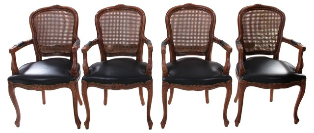 French Fauteuils w/ Leather & Cane, S/4