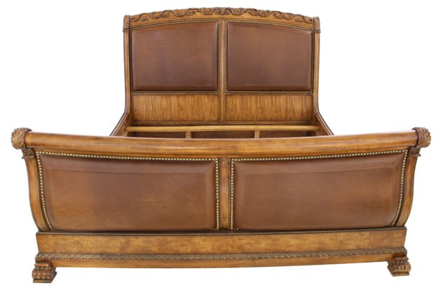 Leather Sleigh Bed, King-Size