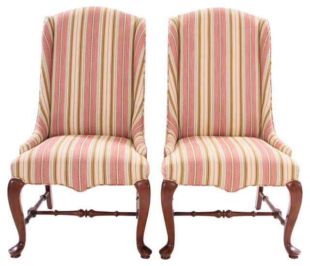 Queen Anne-Style Wingbacks,  Pair