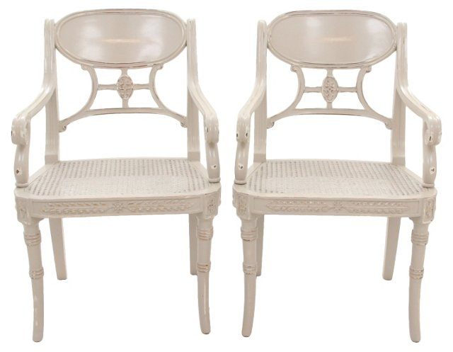 Egyptian-Style Cane Seat Fauteuils, Pair