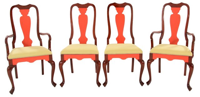 Queen Anne-Style Dining Chairs, S/4