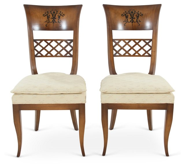 Lattice Side Chairs, Pair