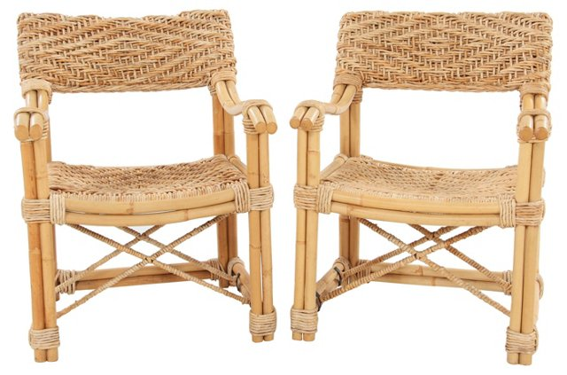 Faux-Bamboo & Wicker Chairs,  Pair