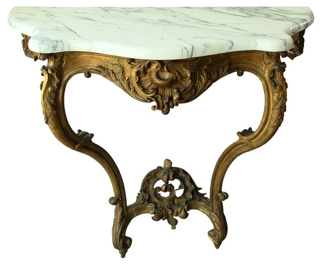 19th-C. French Rococo-Style Console